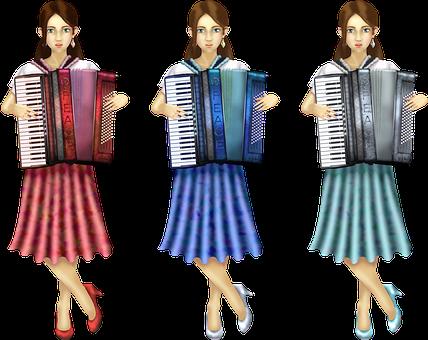 Accordion, Women, Girl, Musicians, Musical Instruments