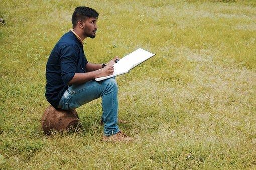 Boy, Drawing, Copy Space, Greenery, Artist, Marathi