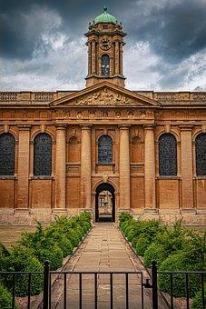 Oxford, College, University, Orange, Sky, Green, Blue