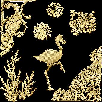 Flamingo, Peacock, Gold Foil, Bird, Corner, Bamboo