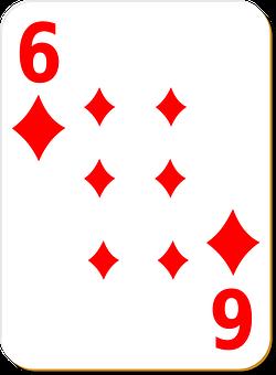 Playing Card, Six, Diamonds, Play, Gambling, Chance