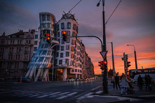Prague, Cityscape, Sunset, Architecture, Dancing House