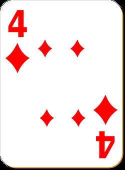 Playing Card, Four, Diamonds, Game, Poker, Casino, Play