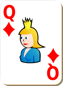 Playing Card, Queen, Diamonds, Game, Card, Recreation
