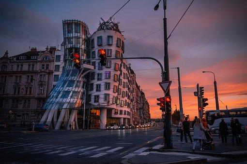 Prague, Cityscape, Sunset, Architecture, Dancing House