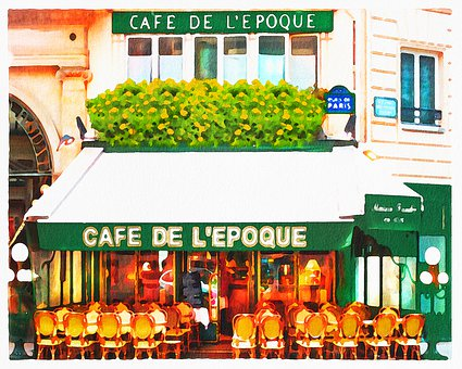 Watercolor Cafe, Paris Cafe, Bistro, Restaurant, France