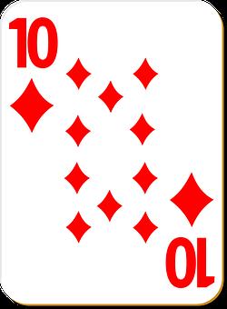 Playing Card, Ten, Diamonds, Game, Poker, Gambling