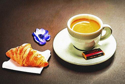 Watercolor, Parisian Coffee, Cafe De Flore, Coffee