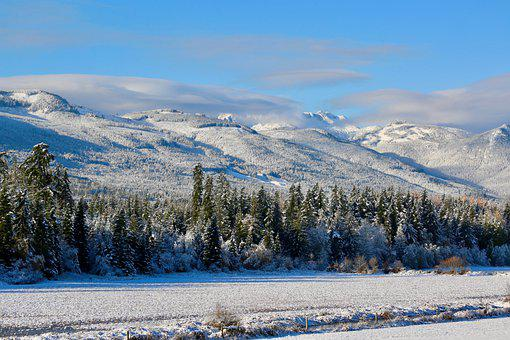 Snowfall, Winter, Mountains, Clouds, Outdoor, Wintry