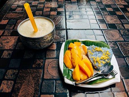 Mango, Rice, Dessert, Sticky Rice, Thailand, Thai