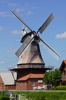 Mill, Windmill, Dutch, East Frisia, Landscape, Sky