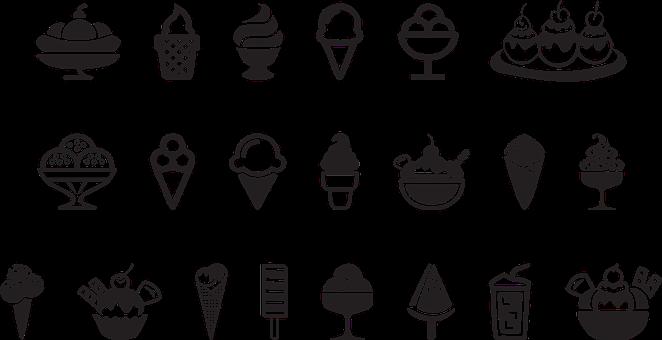 Ice Cream Icons, Popsicle, Ice Cream, Sundae, Drink
