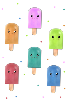 Stickers, Dessert, Cute, Kawaii, Ice-cream, Cartoon