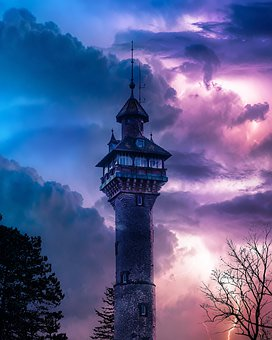 Tower, Darkness, Epic, Thunderstorm, Lighting, Clouds