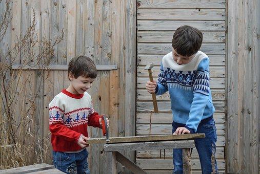Master, Kids, Baby, Saw, Hammer, Carpenter, Nails