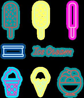 Neon Ice Cream, Ice Pop, Sweet Ice Cream, Neon