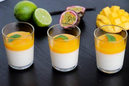 Panna Cotta, Exotic Fruit, Passion Fruit, Mango, Lime