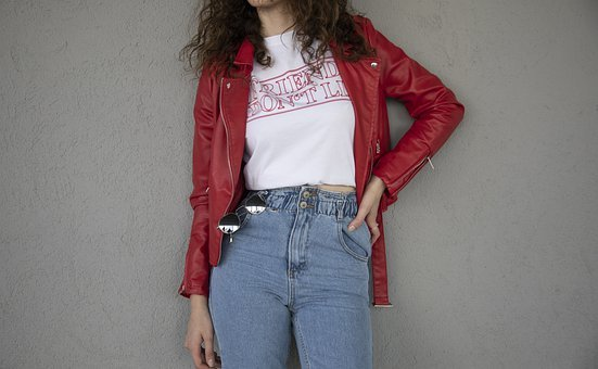 Red, Jacket, Jeans, Pants, Fashion