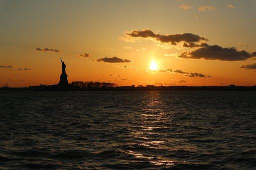 Statue Of Liberty, New York City, Sunset, Usa, Nyc