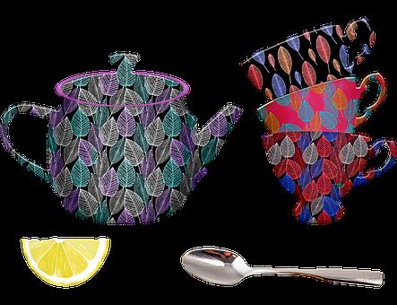 Teacups, Tea Pot, Spoon, Lemon, Leaf Pattern
