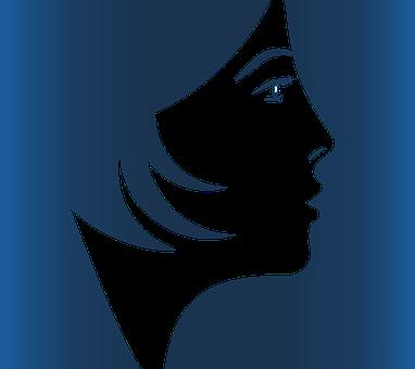 Face, Girl, Profile, Carina, Contrast, Blue, Hair