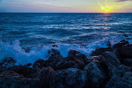 Rocks, Sunset, Beach, Rock, Sea, Nature, Landscape