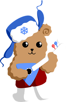 Bear, Musician, Balalaika, Winter, Russia, Coldly