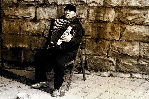 Man, Accordion, People, Music, Work, Livelihood, Style