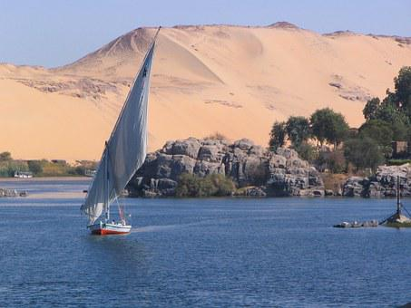 Nile, Aswan, Elephantine, Desert, Egypt, Ship, Sand