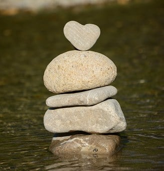 Heart, Water, Stone Heart, Nature, Balance, Stones