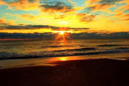 Sunrise, Beach, Sun, Ocean, Sea, Sunset, Water, Travel