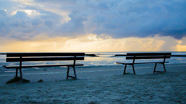 Benches, Bank, Sunrise, Sunset, Sand, Beach, North Sea