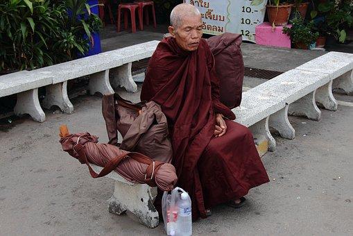 Monk, Thailand, Sitting, Religion, Buddhism, Temple