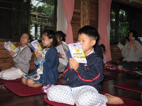 School, Children, Learning, Buddhism, Buddhists, Camp