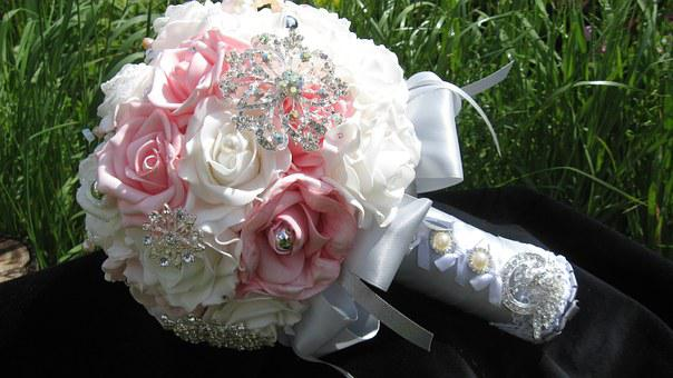Brooch Bouquet, Outdoors, Business Photo, Bride