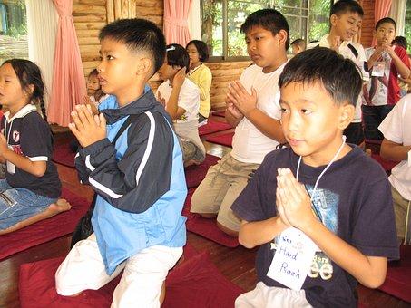 Children, School, Buddhists, Camp, Pray, Meditate