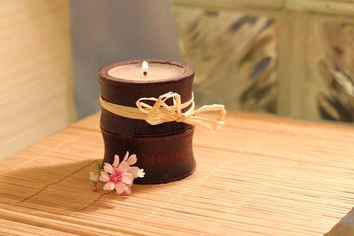 Candle, Bamboo, Flame, Flower, Wellness, Bamboo Mat