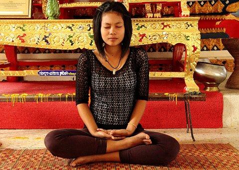 Meditation, Girl, Temple, Quiet, Contemplation