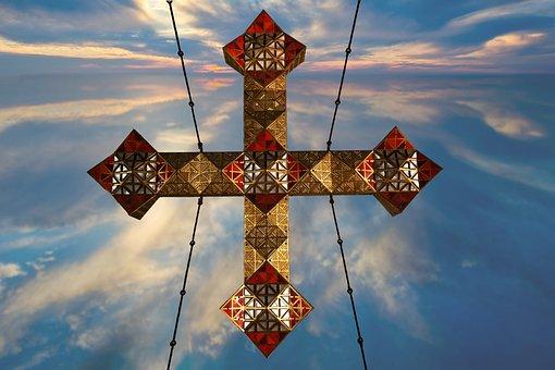 Cross, Jesus, Precious, Christ, Gold, Red, Blue, Sky