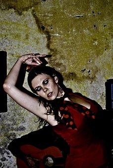 Dancing, Spain, Flamenco, Red, Dress, Women, Dance
