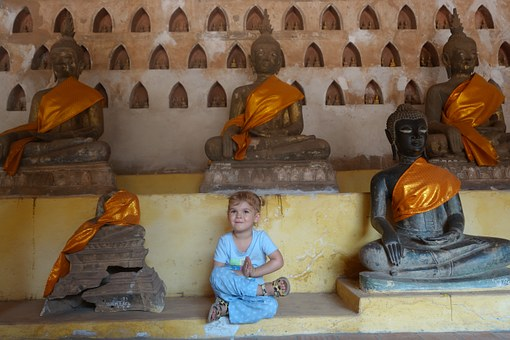Buddha, Wat, Child, Meditation, Girl, Sitting, Calm