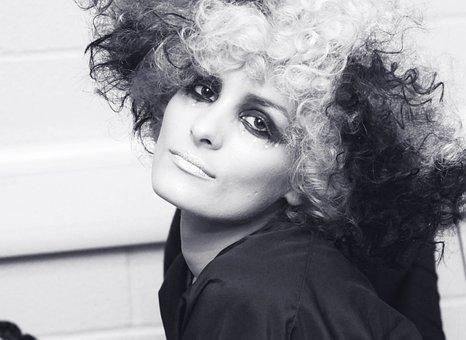 Black White, Hair, Young, Beautiful, Woman, Female