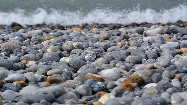 Pebble Beach, Waves, Stones, Seaside, Scum, Roller