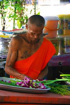 Monk, Orange, Laos, Buddhism, Religion, Culture