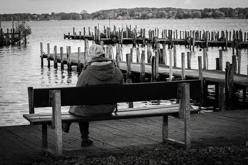 Bank, Lake, Water, Sit, Rest, Break, Human, Woman, Web