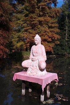 Meditation, Statue, Autumn, Lake, Nature