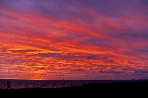 Sunset, Sun, Beach, Sky, Colors, Clouds, Sea, Boat