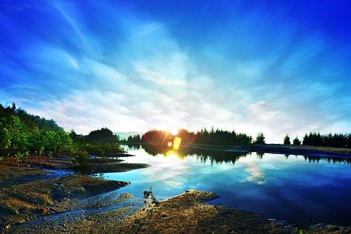 Sunrise, Lake, Cloud, Landscape, Summer, Nature, Sun