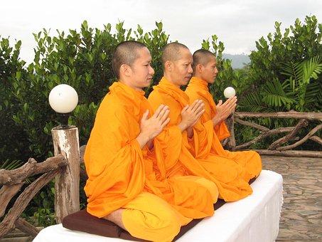 Monks, Buddhists, Pray, Meditate, Thailand, Asian, Asia