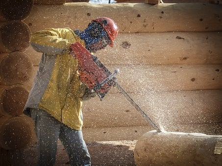 Log Building, House Style, Wooden, Worker, Chainsaw